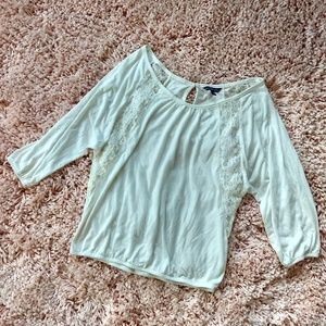 American Eagle Outfitters Tops - AMERICAN EAGLE- WHITE LONG SLEEVE WITH LACE SMALL